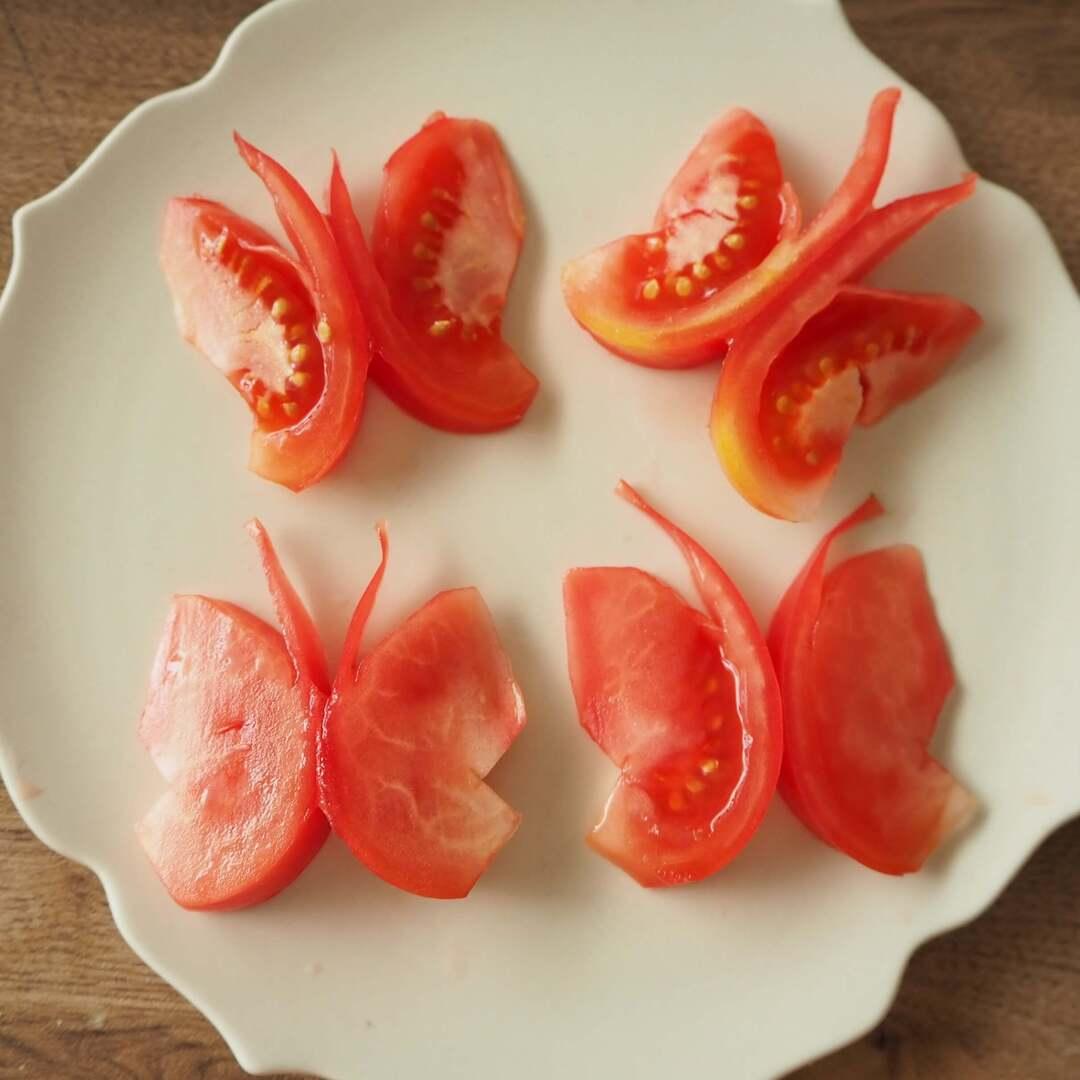あ、これやってみよ!【トマトのちょうちょ切り】なら子どもも食べたくなるかも?